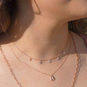 Jewelry - Dainty Chain with Simulated Diamond Circle Charms